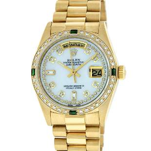 Rolex Mens 18K Yellow Gold MOP String Diamond & Emerald