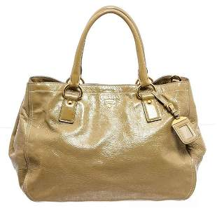 Prada Beige Patent Leather Expandable Two-Way Shoulder