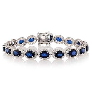 18.13 ctw Blue Sapphire and 3.92 ctw Diamond 14K White