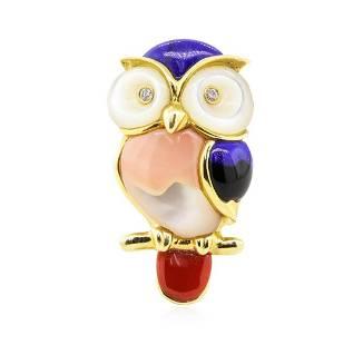 0.04 ctw Diamond and Multi-colored Gemstone Owl Pin -