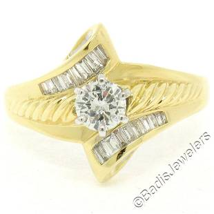 18kt Yellow and White Gold 0.90 ctw Round and Baguette