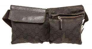 Gucci Black GG Canvas Waist Bag