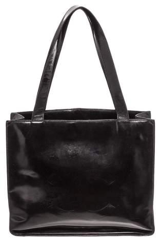 Chanel Black Patent Leather Vintage CC Tote Bag