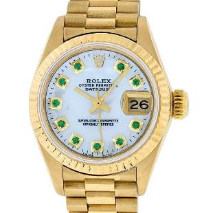 Rolex Ladies 18K Yellow Gold Mother Of Pearl Emerald