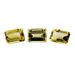 21.38 ctw.Natural Emerald Cut Citrine Quartz Parcel of