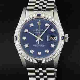 Rolex Mens Stainless Steel Blue Diamond & Sapphire