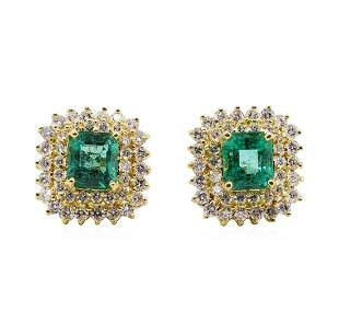 3.71 ctw Emerald and Diamond Earrings - 18KT Yellow