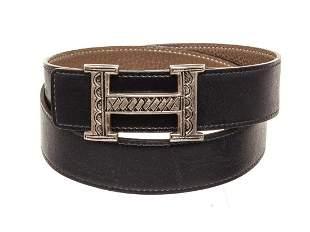 Hermes Navy Leather Sliver Buckle Belt