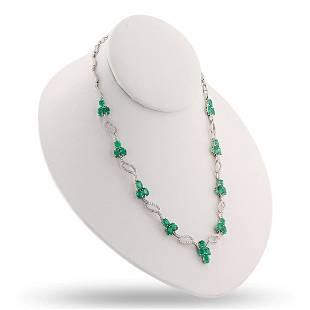 11.92 ctw Emerald and 3.64 ctw Diamond 18K White Gold