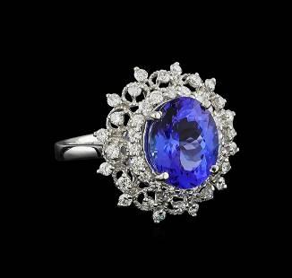 4.01 ctw Tanzanite and Diamond Ring - Platinum