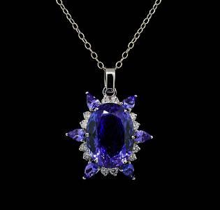 GIA Cert 28.43 ctw Tanzanite and Diamond Pendant With