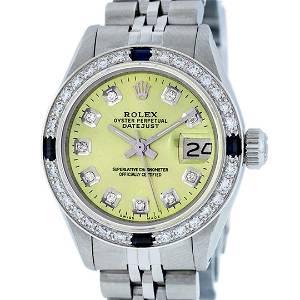Rolex Ladies Stainless Steel Yellow Diamond & Sapphire