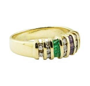 0.90 ctw Diamond, Amethyst, and Emerald Ring - 14KT
