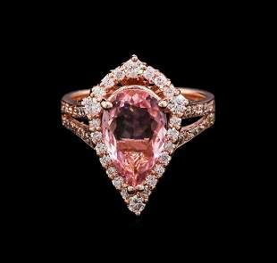 2.27 ctw Pink Tourmaline and Diamond Ring - 14KT Rose