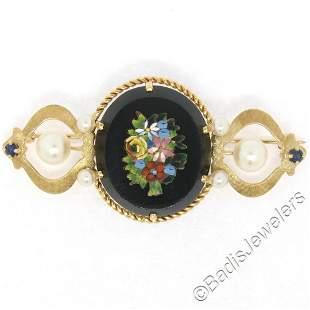 Vintage 14kt Yellow Gold Black Onyx Floral Mosaic