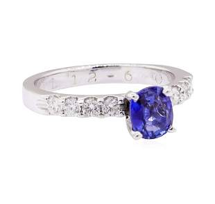 1.11 ctw Blue Sapphire and Diamond Ring - 14KT White