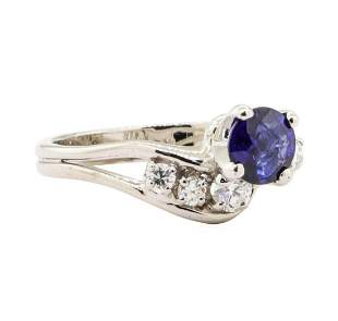 0.92 ctw Blue Sapphire and Diamond Ring - 14KT White