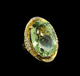 14KT Yellow Gold 27.45 ctw Green Quartz and Diamond