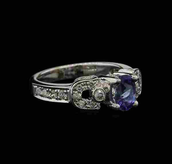 0.82 ctw Tanzanite and Diamond Ring - 14KT White Gold