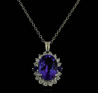 16.40 ctw Tanzanite, Sapphire, and Diamond Pendant With