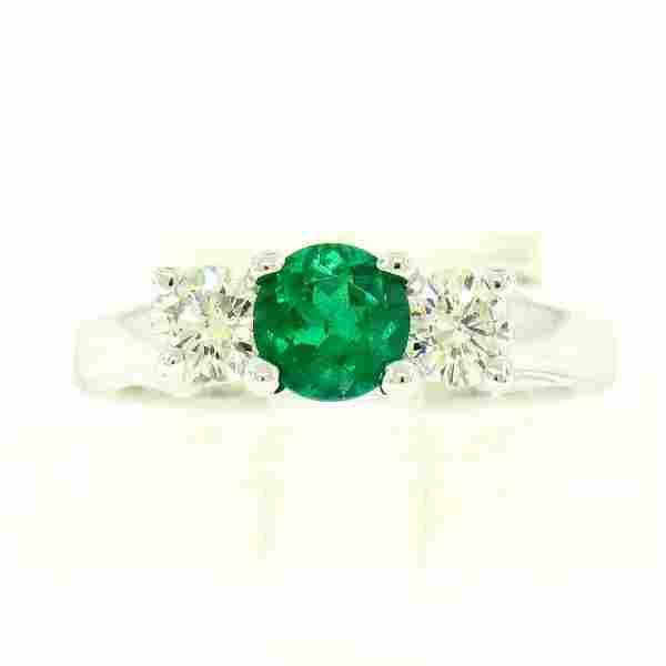 14k White Gold GIA Emerald & Diamond 3 Stone 1.50 ctw
