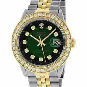 Rolex Mens 2 Tone 18K Green Vignette 2.5 ctw Diamond