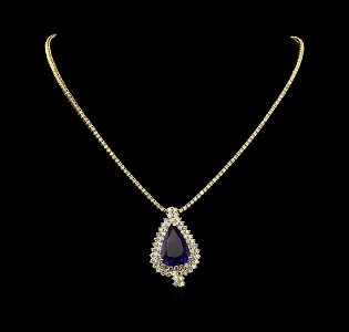 14KT Yellow Gold 23.05 ctw GIA Certified Tanzanite and