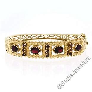 Vintage 14kt Yellow Gold 4.50 ctw Garnet Etched Open