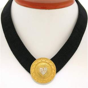 Stylish JAHAN 18K Gold Black Leather .50 ctw Diamond