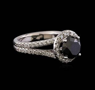 3.58 ctw Black Diamond Ring - 14KT White Gold