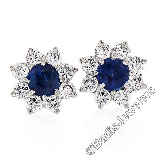 Sterling Silver Blue Crystal & CZ Halo Stud Earrings w/