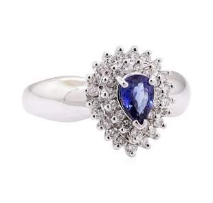1.26 ctw Blue Sapphire and Diamond Cluster Ring - 14KT