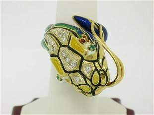Vintage 18K Gold Multi Color Enamel Diamond & Emerald