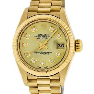 Rolex Ladies 18K Yellow Gold Champagne Diamond Datejust