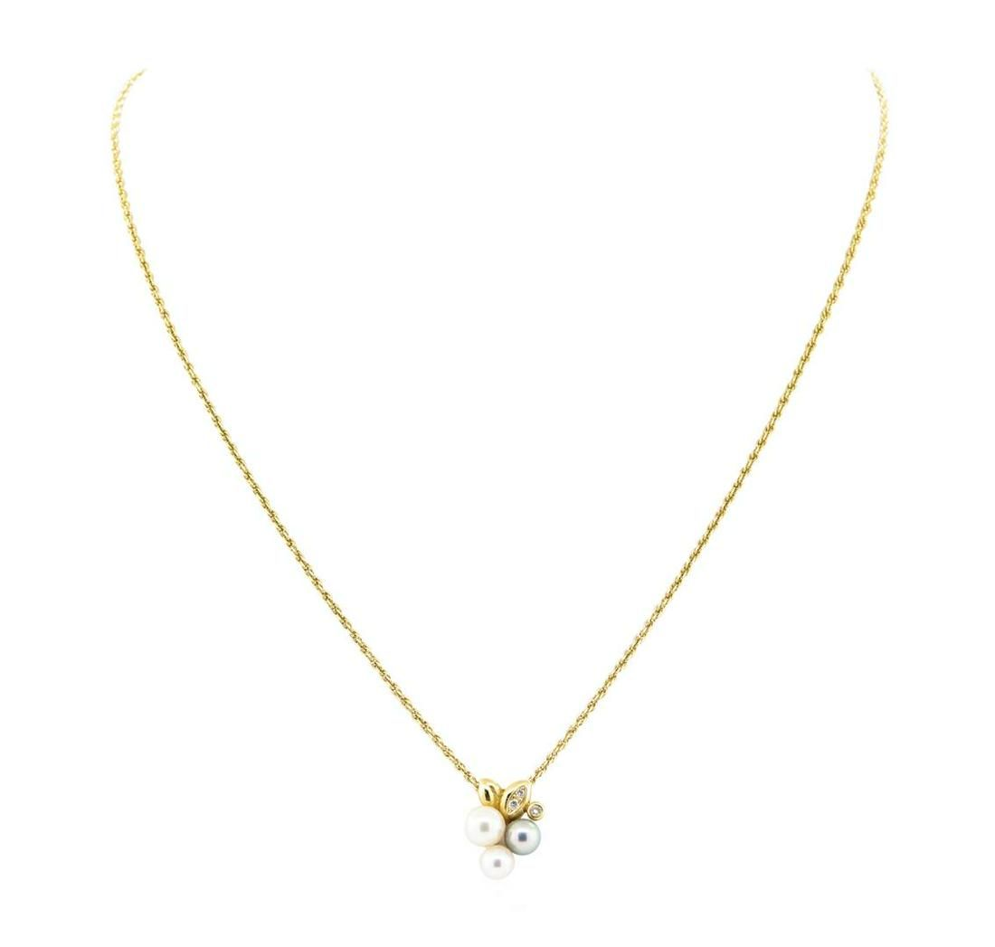 0.08 ctw Diamond and Pearl Pendant with Chain - 18KT