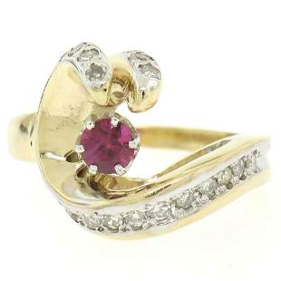14k Yellow Gold .30 ctw Round Blood Red Ruby Claw