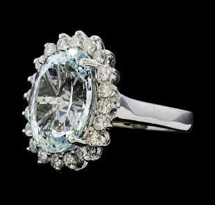 5.95 ctw Aquamarine and Diamond Ring - 14KT White Gold