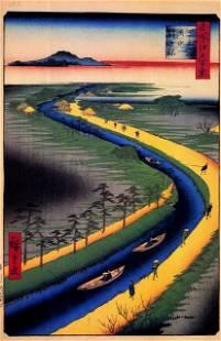 Hiroshige - Towboats Along the Yotsugi