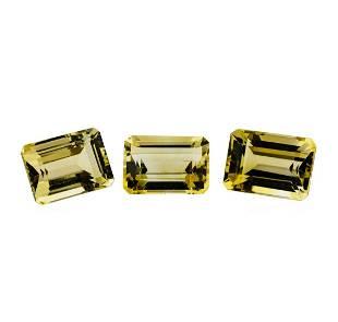 23.73 ctw.Natural Emerald Cut Citrine Quartz Parcel of