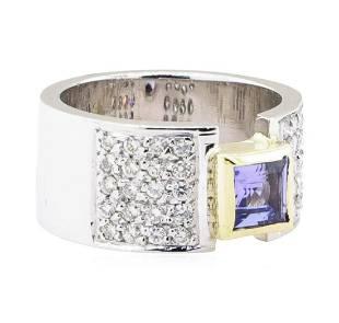 1.20 ctw Tanzanite And Diamond Ring - 14KT White And