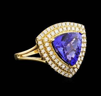 14KT Yellow Gold 4.45 ctw Tanzanite and Diamond Ring