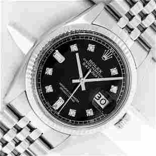 Rolex Mens Stainless Black Diamond 36MM Datejust