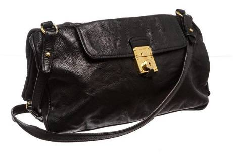 Miu Miu Black Grained Leather Fold Over Crossbody