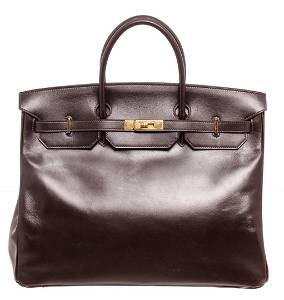 Hermes Brown Box Leather Birkin 40cm Satchel Bag