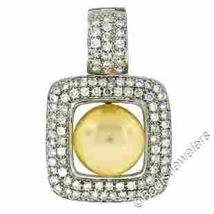 14k White Gold Golden Pearl and 3.00 ctw Diamond Square