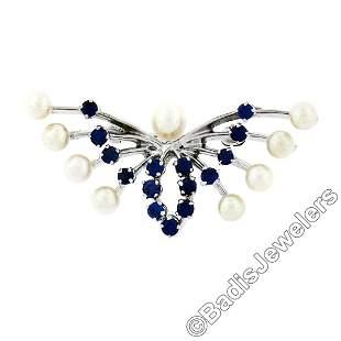 Estate 10kt White Gold 1.00 ctw Sapphire & Pearl Open