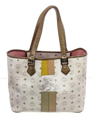 MCM White Gold Leather Canvas Shopper Tote Bag