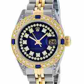Rolex Ladies Yellow Gold Stainless Steel Blue String