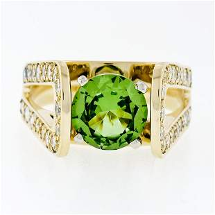14k Yellow Gold 3.0 ctw Round Peridot Solitaire & Ideal