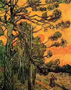 Van Gogh - Pine Trees Against A Red Sky With Setting